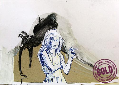 Inside out| 2009 Gemengde techniek op papier 32x 42 cm
