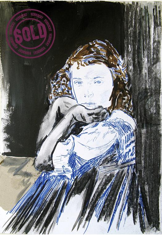 Is it me you're looking for?  2009 Gemengde techniek op papier 42 x 32 cm