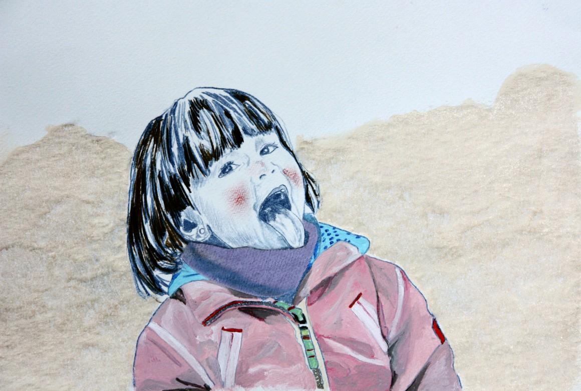 the taste of snow, 30x4cm, gemengde techniek op papier