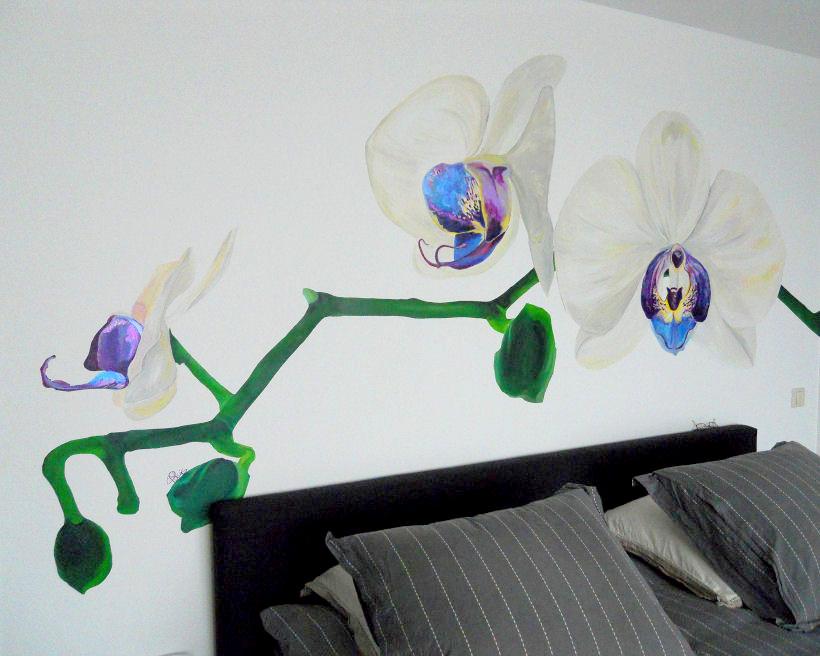 Detail muurschildering Orchidee in opdracht in Amsterdam | 2010 230 x 240 cm