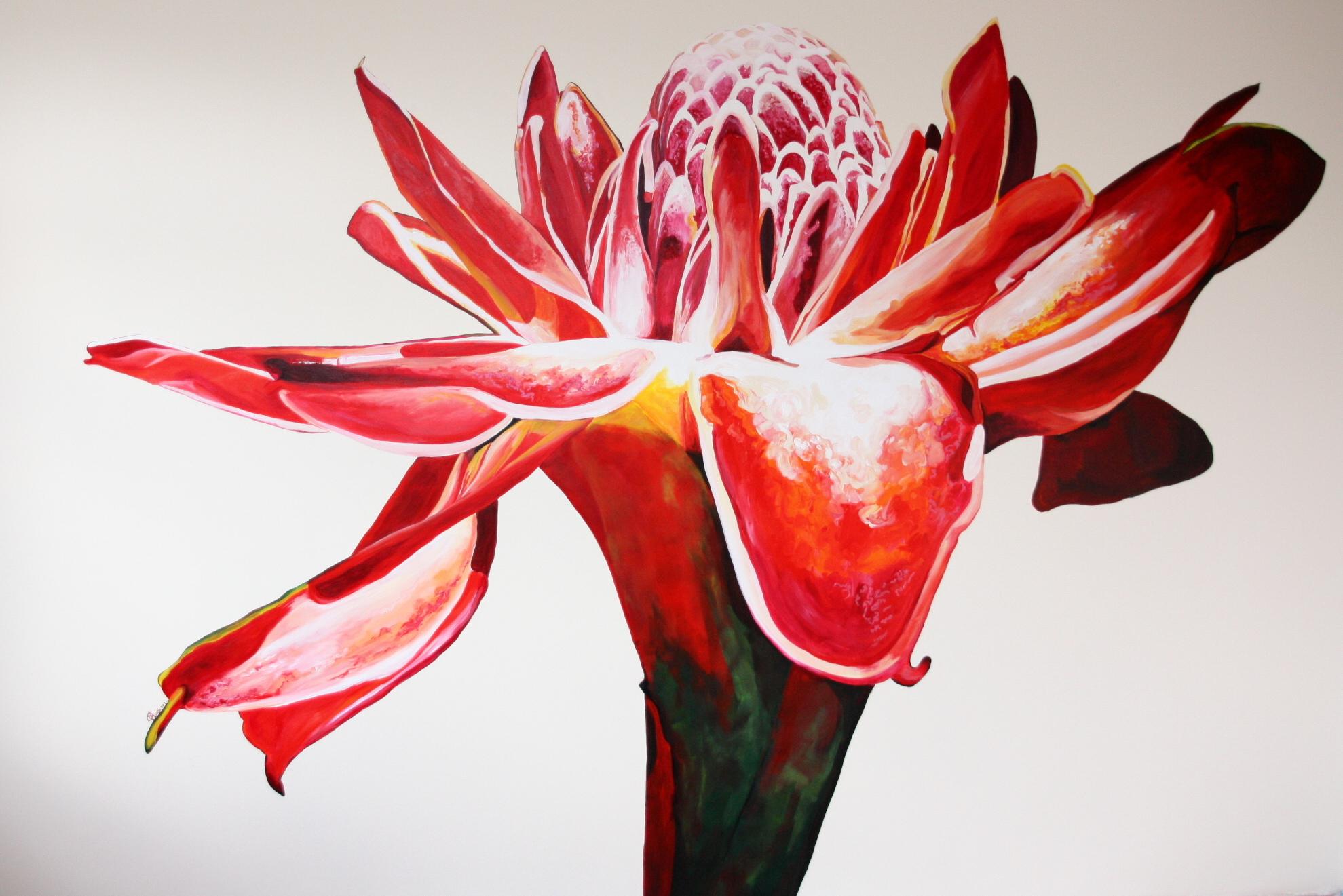 Muurschildering Protea in opdracht in Almere | 2011 300 x 500 cm